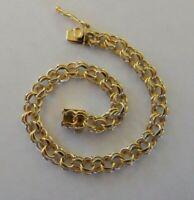 Vintage 14k Yellow Gold DOUBLE LINK STARTER CHARM BRACELET 7.5 In 12 Gr #19074