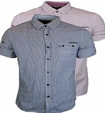 Regular Roll Sleeve Striped Cotton Men's Casual Shirts & Tops