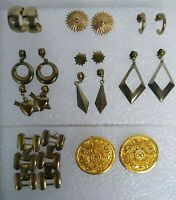 Lot 10 pair Earrings Pierced Vintage Drop Hoop Star Heart Gold Tone Geometric