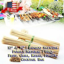 "🆕+180 Bamboo Skewers 12"" BBQ Wooden Sticks Barbecue Grill Fruit Kebab Roasting"