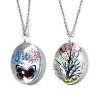 """Chain Set of 2 Pendant Necklace Stainless Steel Gift Jewelry for Women Size 24"""""""