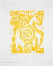Mark T. Smith Target Horse Yellow Hand Signed Limited Edition Linocut Print