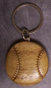 Intarsia Solid Wood Key Ring Sports Baseball NEW