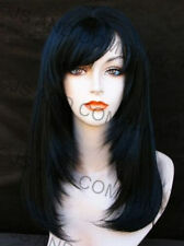 The perfect FACE FRAMING Long Straight  Blut Cut Bangs Jet Black WIG WASR 1