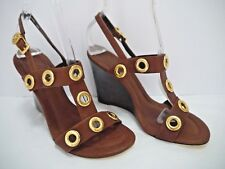 NEW TORY BURCH $325 Kathryn brown leather gold rivet wedge sandals size 7