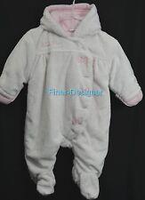 Calvin Klein Infant Girl Snowsuit White faux fur Pink Hood Gloves coat 3 - 6 mo