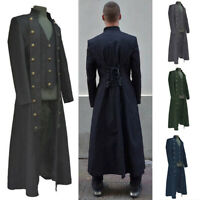 Medieval Retro Men Long Coat Cosplay Costume Halloween Steampunk Gothic Jacket
