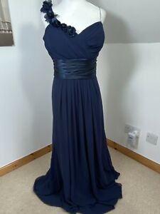 Perfection London Bridesmaid Dress Navy Blue Size 22 Chiffon Layered Diamanté's