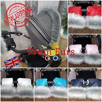 Pram Furs Set Hand Warmer & Mittens Hand Muff Stroller Gloves With Fur Universal