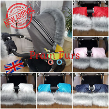 Pram Furs Set Hand Warmer & Mittens Hand Muff Stroller Gloves With Fur Universal