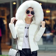 Women Winter Down Cotton Warm Jacket Short Fur Collar Hooded Coat Parka 6 8 10
