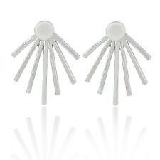 Minimal Spike Spiky Sunrays Rays Silver Plated Ear Jackets Cuff Earrings Urban