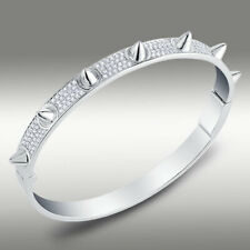 1.65TCW Round Created Diamond Spike Bracelet 925 Sterling Silver 4mm Gold finish