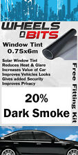 Finestra Tinta 0,75 x 6 m METRI 20% Fumo Scuro Pellicola Solare UV ISOLANTE KIT TINTE