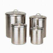 Hammered Canister Set,4 Piece Brushed Nickel, Tarnish Resistant, Lacquer, Sealed