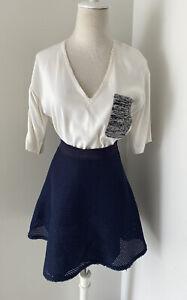 Sandro White Blouse And Navy Skirt, Sz 1 Or Aus 8