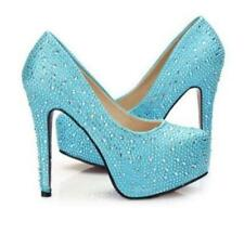 Crystal Sparkly Bridal High Heel Stiletto Wedding Bridesmaid Prom Round Toe Shoe