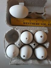 "6 Blown Duck Eggs White with 1 hole 2 1/2"" long"