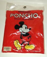 DISNEY MICKEY MOUSE YELLOW RAIN PONCHO VINTAGE FRENCH PACKAGE SEALED THEME PARK