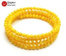 Trendy 4-5mm Yellow Round Shell Pearl Steel Wire Wrap Bracelet for Women bra444