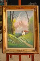 Dipinto paesaggio firmato quadro su tela montagna cornice stile antico 900