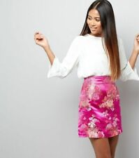 New Look Petite Pink Floral Print Jacquard Skirt Size UK4 rrp £22.99 DH088 RR 25