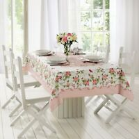 Pink  Roses Printed Fabric Tablecloth - water and stain resistant