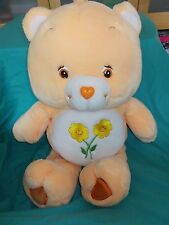 JUMBO Plush 26 Inch Friend Bear CARE BEAR 2002 Orange Flowers Care Bears
