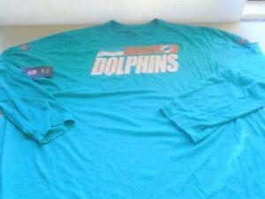 2 New Nike Miami Dolphins Long Sleeve Dri Fit T Shirts sz 4XL
