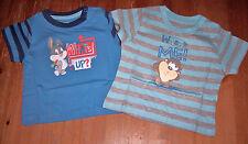 Looney Tunes Baby T-Shirt blau uni oder gestreift Gr. 62/68 74/80 86/92