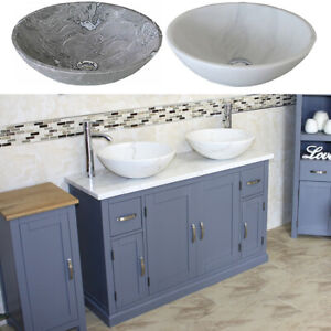 Bathroom Double Vanity Unit Grey Painted Cabinet White Marble Top Stone Basin