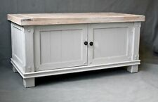 large solid wood TV media unit upcycled painted part of set cream