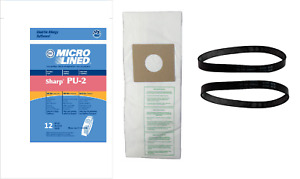 12 Sharp Type PU-2 Micron Vacuum Cleaner Bags - 99.7% Filtration! Plus 2 Belts!