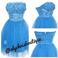Angel Fashions Blue Floral Homecoming, Prom, Party Dress Jrs Size 5/7