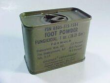 Vietnam Era 1970 Military OD Green Tin Fungicidal Foot Powder, FSN 6505-515-1584