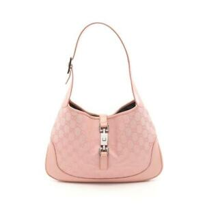 GUCCI Jackie Gg Canvas One Shoulder Bag Leather Pink Collection Shippingfree