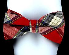 Flannel Plaid Mens Bow Tie Adjustable Necktie Tuxedo Wedding Fashion Bowtie New