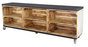 Rustikales TV Lowboard mit 6 Fächern, 150x53x30cm Weinkisten Paletten