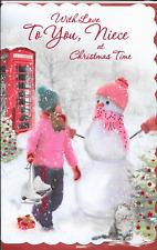 With Love Nipote cartolina di Natale, Grande 7 x 11 pollici, Ragazza, pupazzo di neve, pattinaggio sul ghiaccio (CC1