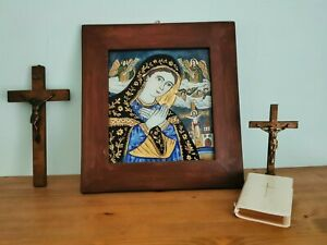Russian Folk Art Painted Icon on Glass Primitive, Naive Framed with Artist Name