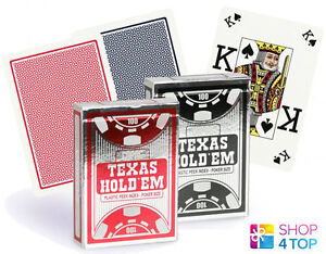 COPAG TEXAS HOLD'EM SILVER PEEK INDEX POKER CARDS CASINO DECK RED BLACK PLASTIC