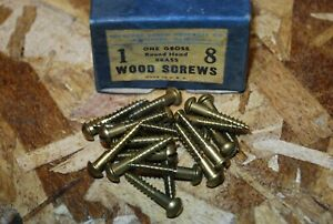 "#8 x 1"" Round Head Brass Wood Screws - Rockford - NOS 20pcs #ps308"