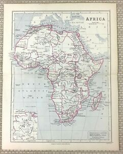 1894 Antique Map of Africa Continental African Old 19th Century Edward Weller