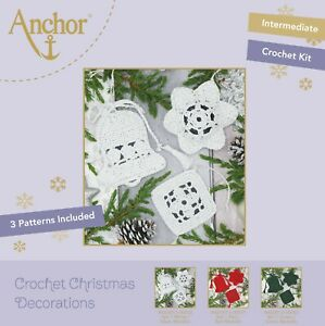 CHRISTMAS DECORATIONS CROCHET KIT White by Anchor