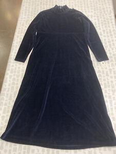 Jones New York Sport Women Blue Mock Neck Long Sleeve Maxi Velvet Dress Size M