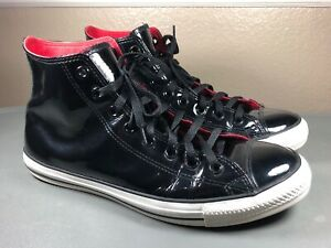 Converse All Star Chuck Taylor Black Patent Leather High Top Shoes Mens 11