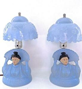 Pair of 1930's Blue Glass Oriental Nodder Bedroom Lamps