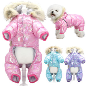 Warm Winter Small Dog Snowsuit Jumpsuit Cotton Lined Puppy Coat with Fur Hoodie