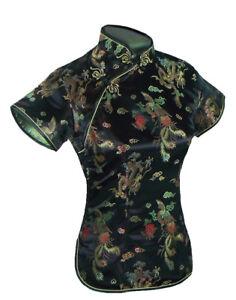 UK Chinese Black Dragon & Phoenix Satin Short Sleeve Top Shirt  Blouse fast post