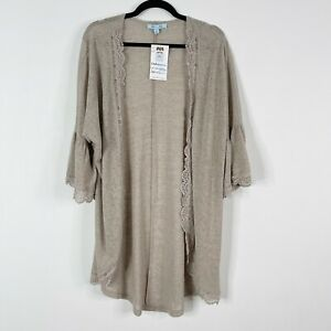 New She + Sky Large L Happens Like That Taupe Cardigan Sweater Brown Lace Edge